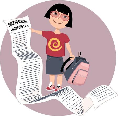 cartoon school girl: Cute cartoon girl holding a very long back to school shopping list vector illustration no transparencies EPS 8