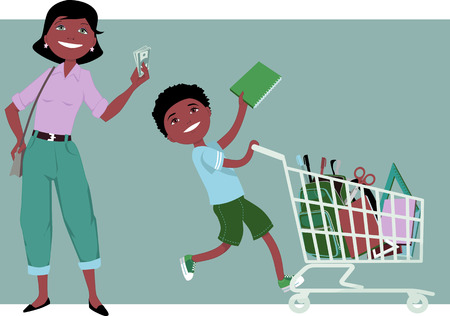 saved: Cute cartoon mother holding saved money in her hand her little boy riding a shopping cart filled with school supplies vector illustration no transparencies EPS 8