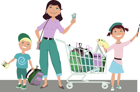 money hand: Cute cartoon mother with two children: boy and girl standing next to a shopping cart filled with school supplies holding saved money in her hand vector illustration no transparencies EPS 8 Illustration