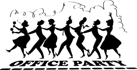 bottom line: Black vector silhouette of group of people dressed in late 1950s fashion dancing conga line no white objects office party lettering at the bottom streamer on top EPS 8