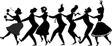 black people dancing: Black vector silhouette of group of people dressed in late 1950s early 1960s fashion dancing conga line no white objects EPS 8