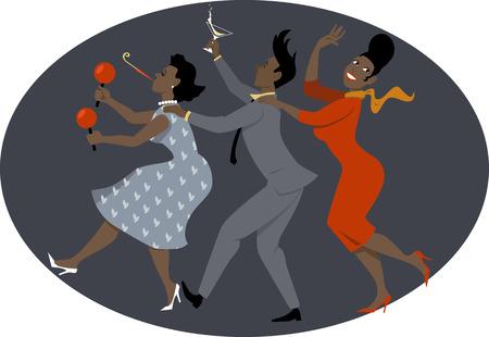 Gruppo di persone vestite di nero fine del 1950 1960 illustrazione moda ballare conga vettore non lucidi EPS 8