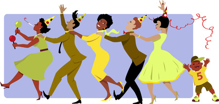 Group of people in party hats dressed in late 1950s early 1960s fashion dancing conga with maracas little boy throwing a streamer vector illustration no transparencies EPS 8 Illustration