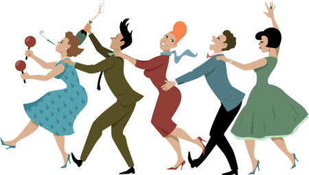 time line: Group of people dressed in late 1950s early 1960s fashion dancing conga with maracas party whistle and a bottle of campaign vector illustration no transparencies EPS 8
