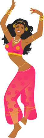 Sexy woman in a stage costume dancing Middle Eastern traditional style dance, vector illustration, no transparencies, EPS 8