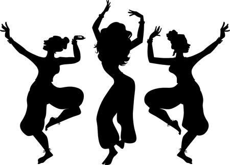 harem: Black vector silhouette of three women dancing traditional Indian dance, EPS8