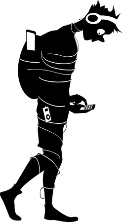 Black vector silhouette of a teenage boy addicted to internet, tangled in wires, looking at the smartphone, EPS 8, no white objects Illustration