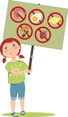 Cute cartoon girl holding a poster with warning signs for typical food allergens: shellfish, peanuts, eggs, dairy and fruits, vector illustration, EPS 8 Çizim