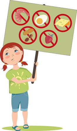Niña de dibujos animados lindo sosteniendo un cartel con señales de advertencia para los alérgenos alimentarios típicos: mariscos, maní, huevos, lácteos y frutas, ilustración vectorial, EPS 8