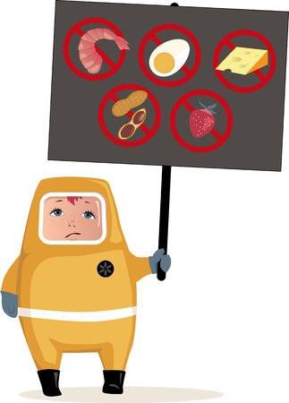 alergenos: Ni�o en traje de materiales peligrosos que sostiene un cartel con al�rgenos alimentarios comunes iconos, ilustraci�n vectorial, EPS 8