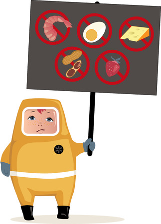Child in hazmat suit holding a poster with common food allergens icons, vector illustration, EPS 8