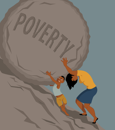 Woman pushing a rock with the word poverty written on it uphill, a little boy helping her, vector illustration, no transparencies, EPS 8 Illustration