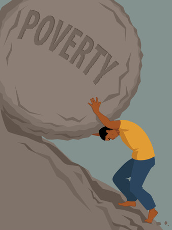 uphill: Man pushing a rock with the word poverty written on it uphill, vector illustration, no transparencies, EPS 8 Illustration