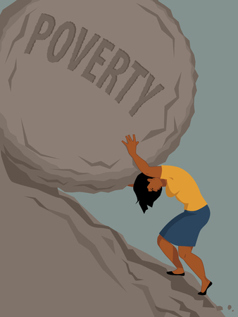 sisyphus: Woman pushing a rock with the word poverty written on it uphill, vector illustration, no transparencies, EPS 8 Illustration