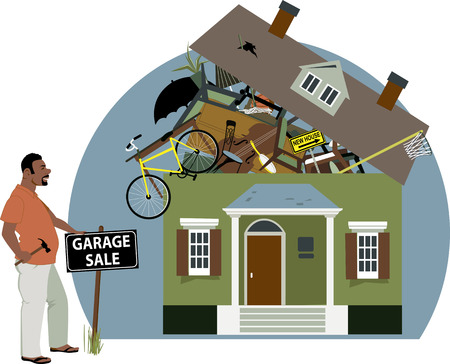 garage on house: Enthusiastic black man putting a garage sale sign in front of a house, bursting with stuff, vector illustration, EPS 8 Illustration