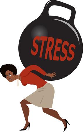preocupacion: Negro mujer que lleva un peso de campana hervidor de agua gigante con la palabra estrés escrito en ella, ilustración vectorial, EPS 8