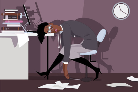 work stress: Exhausted black woman sitting in the office late at night, putting her head on a desk, vector illustration, no transparencies, EPS 8