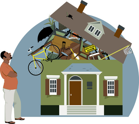 belongings: Distressed black man looking at a house bursting with stuff, vector illustration, EPS 8