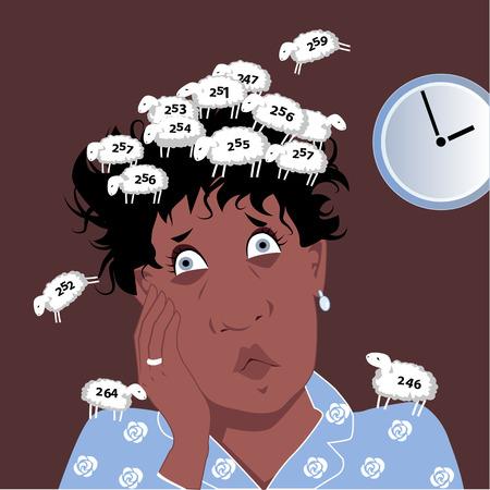 Insomniac âge mûr femme noire recouverte d'un troupeau de moutons numérotée elle comptait, bande dessinée de vecteur, pas transparents, EPS, 8, Banque d'images - 42118154