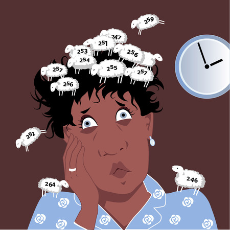 deprivation: Insomniac middle age black woman covered with a flock of numbered sheep she counted, vector cartoon, no transparencies, EPS 8 Illustration