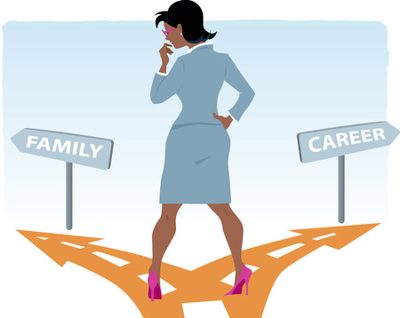 deciding: Black woman in a business suit standing at the fork in the road, deciding between career and family, vector illustration, no transparencies, EPS 8