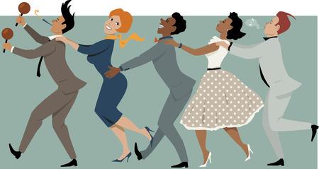 tanzen cartoon: Vielfältige Gruppe von Menschen in späten 1950er Jahren Anfang der 1960er Jahre gekleidet Mode tanzen conga mit Maracas und Parteipfeife, Vektor-Illustration, keine Transparentfolien, EPS 8