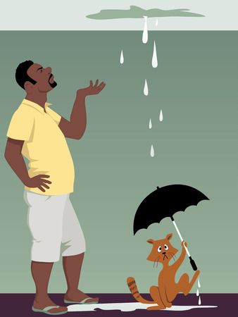 Black man looking at a ceiling leak, a cat holding an umbrella, vector illustration, EPS 8