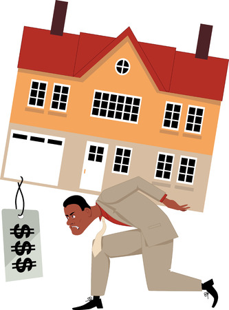house prices: Depressed man carrying a house with a huge mortgage price tag, vector illustration, EPS 8