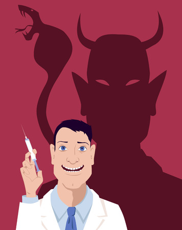 side effect: Smiling doctor holding a syringe, his shadow looks like a devil with a cobra snake, vector illustration,  8