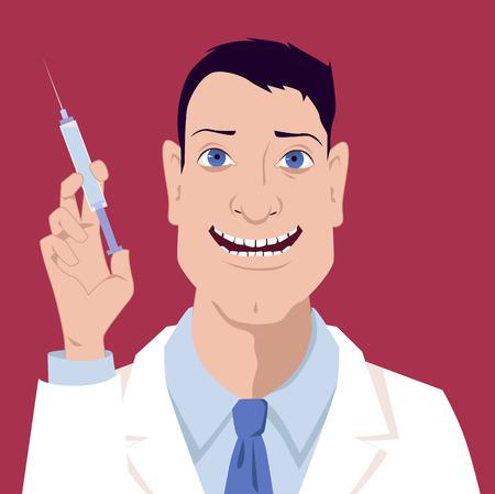 flu immunization: Portrait of a smiling attractive male doctor holding a syringe, vector illustration, no transparencies, EPS 8