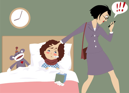 working mother of a sick child receiving an urgent message on her phone, vector illustration, EPS 8