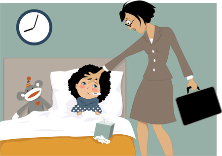 Working mother touching a forehead of a sick child lying in a bed with a thermometer, vector illustration, EPS 8