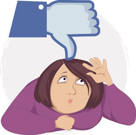 peer to peer: Pulgar abajo s�mbolo empujando una joven abajo como una met�fora de la presi�n del grupo creado por los medios de comunicaci�n social, la ilustraci�n vectorial, EPS 8 Vectores