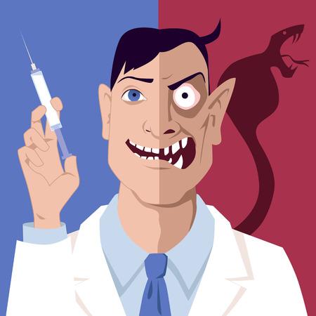 Portret van een arts met een spuit, zijn gezicht verdeeld over goed en kwaad helften als metafoor voor pro en contra vaccinatie discussie, vector illustratie, EPS-8, geen transparanten