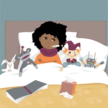 contagious: Cute upset kid lying in a bed surrounded by toys with a thermometer in a mouth, vector illustration, EPS 8