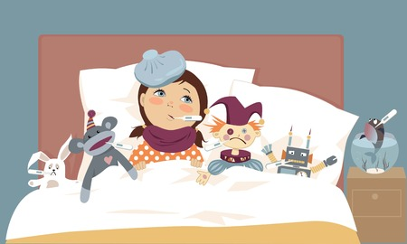 Cute little girl lying in bed with her toys, all have thermometers in their mouth, vector illustration, EPS 8 일러스트