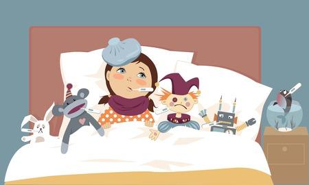 ragazza malata: Cute bambina sdraiato nel letto con i suoi giocattoli, tutti hanno termometri nella loro bocca, illustrazione vettoriale, EPS 8 Vettoriali
