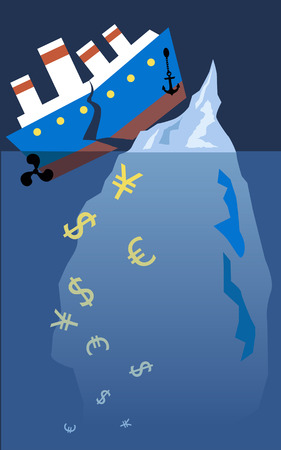Financial Titanic. A steam boat hit an iceberg and broke onto halves, currency symbols sinking under it, vector illustration, no transparencies, EPS 8