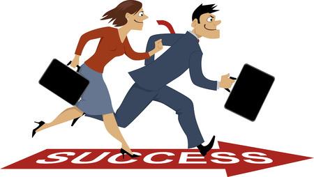 Businessman and businesswoman racing towards success, vector illustration, EPS 8