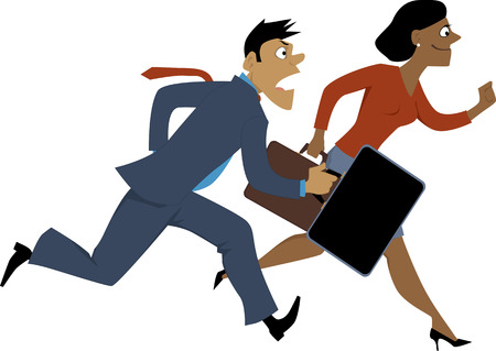 glass ceiling: Running black businesswoman passing a Caucasian businessman, vector illustration, isolated, EPS 8