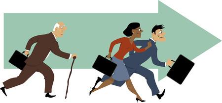 discriminacion: Hombre mayor con un problema de la caña de tener que mantenerse al día con sus colegas más jóvenes, ilustración vectorial, EPS 8
