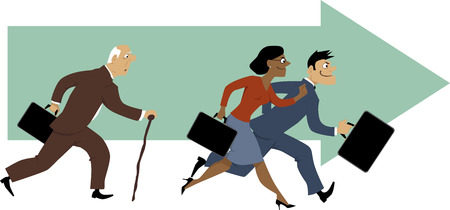 Senior man with a cane having problem to keep up with younger colleagues, vector illustration, EPS 8 Ilustração