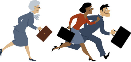 keep up: Senior business woman trying to keep up with younger colleagues, running, vector illustration, EPS 8 Illustration