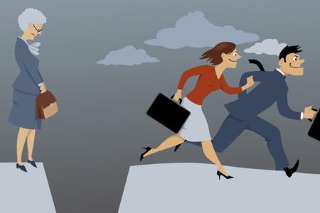 discriminacion: Mujer mayor que se coloca en el borde de la brecha, la separaba de la competencia los empleados más jóvenes, ilustración vectorial, EPS 8