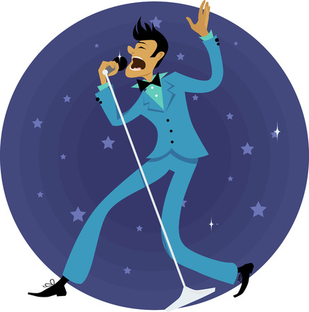 singing: Cartoon man, dressed in 1970s fashion, singing in a microphone, circular background with stars, vector illustration, no transparencies, EPS 8