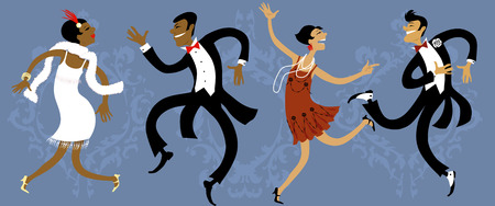 Two couples dressed in 1920s style dancing the Charleston, vector illustration, EPS 8