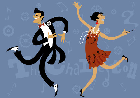 Cartoon paar dansen de Charleston, vector illustratie, EPS-8