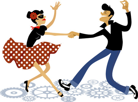 swings: Cartoon couple dressed in rockabilly style fashion, dancing rock and roll, vector illustration, no transparencies, EPS 8