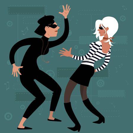 Beatnik girls dancing on early 1960s design background, vector cartoon