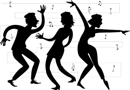 counterculture: Silhouette of beatniks dancing